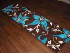 Runner 60x220cm Aprox 8ft Hand Carved Super Quality Lily Brown/Teal Stunning